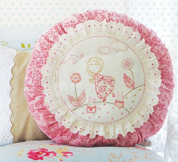 Hand Embroidery Bunny Mothers Day Gift Embroidery Pillowcase Etsy