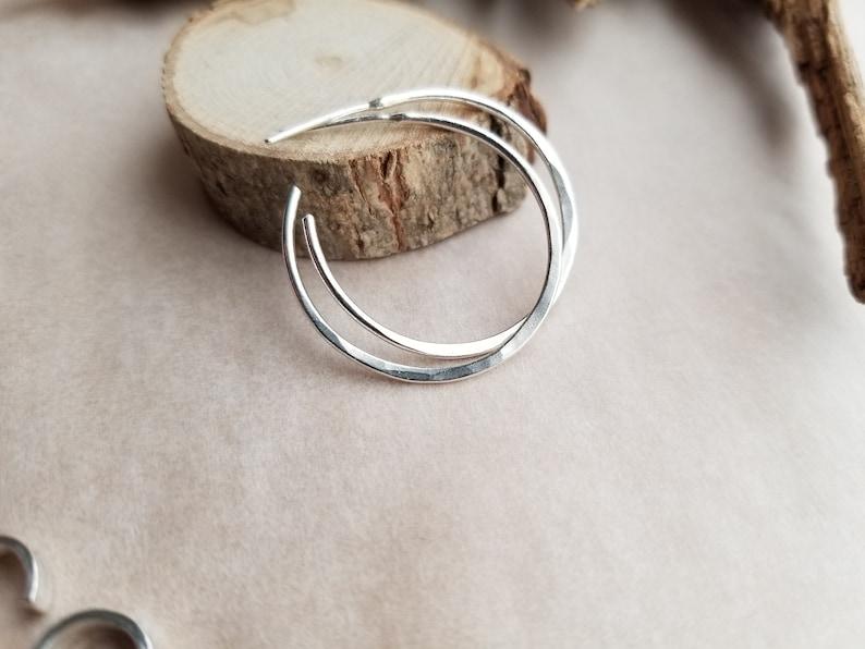 Argentium Silver Hoop Earrings Gift Under 50. Post Hoop Earrings Hammered Hoop Earrings Simple Everyday Earrings Hoop Stud Earrings