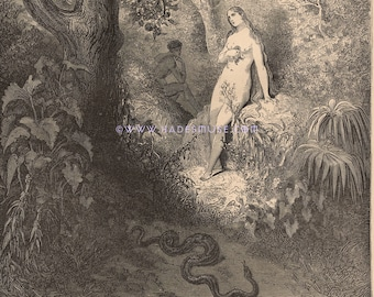 Devil Tempts Eve In Garden Of Eden-Apple-Sin-1885 Antique Vintage Art PRINT-Devil-Lucifer-Gothic-Goth-Hell-Adam-Serpent-Snake