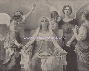 Mother Of Sorrows-Holy Women-Crown Of Thorns-Angels-Pieta-1894 Antique  Vintage Art Print-Picture-Jesus Christ-Heaven-God-Celestial Vision 86b451732cd