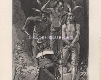 Death By Tomahawk-Miantonomo-Native American Indian-Murder-Warrior-War-United States-Tribe-1883 Old Antique Vintage Art Print-Peace Treaty
