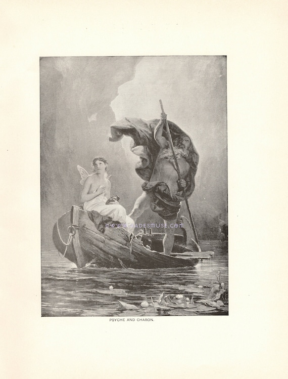 Psyche Hades Underworld River Styx Persephone 1891 Antique Vintage Old Art Print Gothic Picture Death Charon Ferry Boat Dead Persephone Box