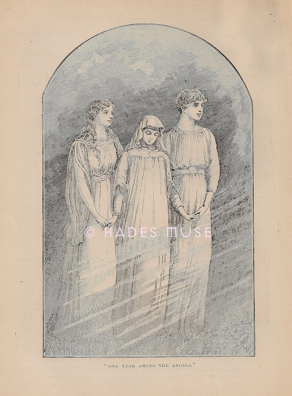 Beautiful Ghost Angels Death Art Poem Gothic Engraving 1887 Antique Vintage Art Print Girl Mourning Heaven Poetry Child Picture
