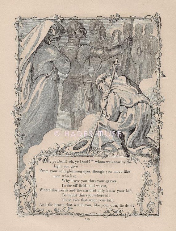 Nawiedzone Miejsce Gdzie Ye Dead Lie Grób 1872 Antyczne Rocznika Art Print Gothic średniowieczny Death Poemat Poezja Stary Wiktoriański