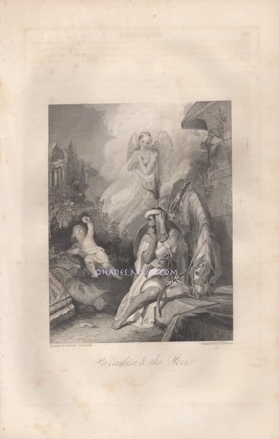 Paradis Et La Péri Nu Ange Guerrier Thomas Moore Poème De Lère Victorienne Poésie Cheval 1853 Ancienne Antique Vintage Art Gothique Impression