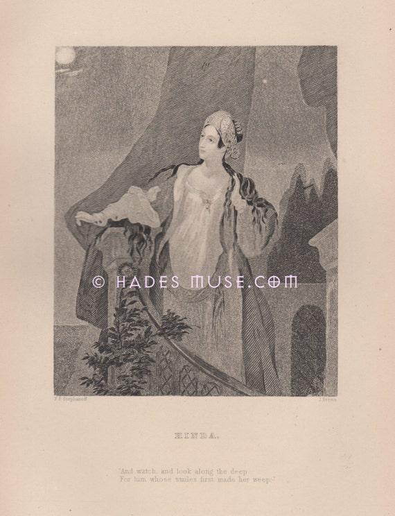 Feu Sourire Les Adorateurs Hinda Thomas Moore Poème Amoureux Fait Son Vintage Antique De Romance Amour 1880 Weep Oriental Art Print Gothique