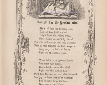 Celtic Banshee Cried-Death Untied-Gloomy Days-Hero's Grave-1872 Antique Vintage Art PRINT-Poem-Poetry-Benshee-Mourn-Decay