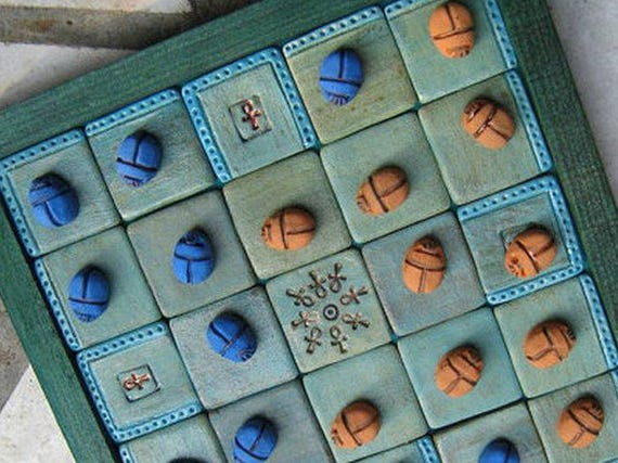 Case Blue Board Game : Egyptian seega game board with midnight blue sand yellow etsy