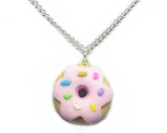 Donut With Sprinkles Necklace - Pink Doughnut Charm - Choker Necklace - Polymer Clay Kawaii Cute Glitter Decor Jewellery