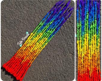 12 SE 'Rainbow Ombre' Synthetic Dread Accent Kit - 12 Single Ended Crochet Dreadlocks - Fake Faux Crochet Locs Dread Hair Extensions