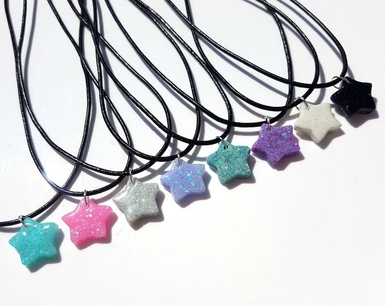 Blue Resin Star Choker Necklace Cute Lolita Jewellery Soft Grunge Anime Halloween Jewellery Kawaii Pastel Goth Glitter Pendant