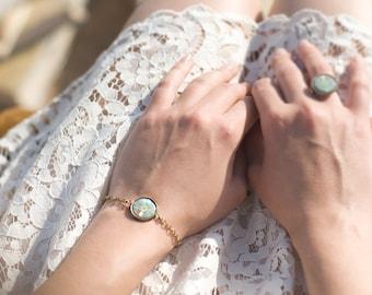 Green Bracelet - Bracelet - Art Jewelry - Teal Bracelet - Unique Jewelry - Designer Bracelet (7-1B)