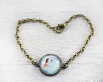 Blue Bracelet - Bracelet - Art Jewelry - Turquoise Bracelet - Origami Jewelry - Paper Plane - Designer Bracelet (14-3B)