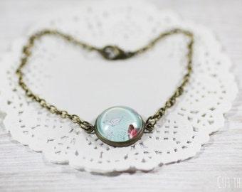 Blue Bracelet - Bracelet - Origami Jewelry - Turquoise Bracelet - Art Jewelry - Paper Crane - Designer Bracelet (14-2B)