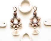 Statement Earrings, Tassel Earrings, Fringe Earrings, Boho Earrings, Fabric Earrings, Rope Earrings, Drop Earrings, Boho Wedding, Clip On