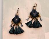 Black Tassel Earrings, Black Chandeliers, Raffia Earrings, Crochet Earrings, Statement Earrings, Fabric Earrings, Large Earrings