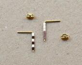 Minimalist Seed Bead Earrings, Striped Rod Ear Posts, Dainty Earrings