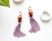 Boho Earrings, Tassel Earrings, Girlfriend Gift, Fringe Earrings, Handmade Jewelry, Shoulder Duster Earrings, Ceramic Bead Earrings