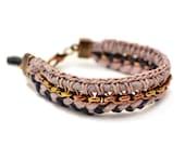 Crochet Bracelet, Pink Boho Jewelry, Rustic Wedding Accessory, Hippie Bracelet, Friendship Bracelet, Fabric Bracelet, Textile Bracelet