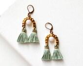 Jade Green Tassel Earrings, Clip On Earring, High Fashion Jewelry, Seafoam Fringe Earrings, Fan Earrings, Statement Earring, gift for friend