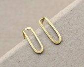 Paperclip Earrings, Hammered Brass Ear Posts, Minimalist Earrings