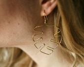 Monstera Earrings, Mismatched Earrings, Plant Earrings, Leaf Earrings, Gold Jewelry, Hammered Brass Jewelry, Abstract Earrings