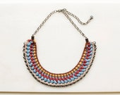 Short Hippie Necklace, Crochet Statement Jewelry in Blue and Bordeaux Red