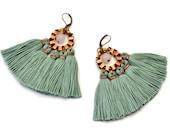 Seafoam Green Tassel Earrings, Christmas Gift for Wife, Jade Green Fringe Earrings, Mint Hippie Earrings, Clip On, Bohemian Chandeliers