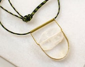 Long Rope Necklace with Large Natural Stone, Brass Pendant, Agate Stone Jewelry