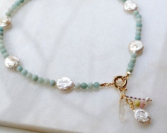 Beaded Statement Necklace with Keshi Coin Pearl and Amazonite, 90ies Pastel Jewelry, Pendant with Rock Crystal