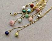 Threader Earrings with Natural Stones or Sweetwater Pearl, Gemstone Jewelry, Birthstone Earrings