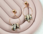 Abstract Natural Gemstone Earrings, Gold Plated Hoop Earrings with Dalmatian Jasper