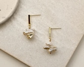 Keshi Pearl Ear Studs with Gold Plated Brass Bar Posts, Minimalist Pearl Earrings