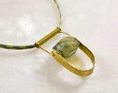 Long Rope Necklace with Abstract Hammered Brass Pendant and Prehnite Bead, Natural Stone Jewelry