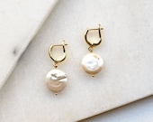 Keshi Coin Pearl Earrings, Creole Earrings with Natural Pearl, Modern Sweet Water Pearl Jewelry, Gift for Mother