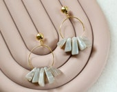 Gold Plated Hoop Earrings with gray Agate, Abstract Natural Gemstone Earrings