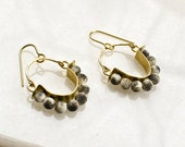 Beaded Brass Earrings with White Turquoise, Abstract Modern Jewelry, Hammered Brass Hoop Earrings with Sprinkled Beads