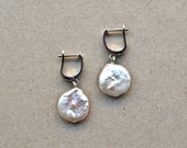 Huggie Creole Earrings with large Keshi Coin Pearl, Sweetwater Pearl Jewelry