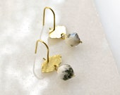 Hammered Brass Earrings with speckled Agate, Natural Stone Jewelry