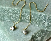 White Turquoise Threader Earrings, Speckled Natural Stone Chain Earrings, Gemstone Jewelry