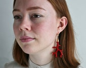 Polymer Clay Coral Earrings, Statement Earrings with Red Pendants, Nautical Creoles