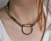 Jasper Necklace, Short Choker with Sesame Jasper, Agate and Brass Elements, Blueish Grey Natural Stone Jewelry