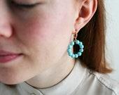 Turquoise Hoop Earrings, Blue Creoles with Natural Stone Beads, Beaded Huggie Earrings