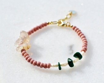 Pink Friendship Bracelet with Agate Nuggets and Reused Malachite and Freshwater Pearls