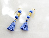 Tassel Earrings, Fringe Earrings with Iridescent Blue Glass Beads and Hand Dyed Cotton Tassels, Limited Edition