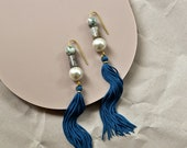 Extra Long Tassel Earrings with Teal Blue Tassel and Agate Beads, Shoulder Duster Earring