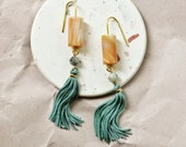 Long Sage Green  Shoulder Duster with Agate and Jasper Stones, Natural Stone Earrings with Mint Tassel