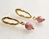 Small Gold Plated Brass Post Earrings with Faceted Blush Pink Rhodochrosite Beads