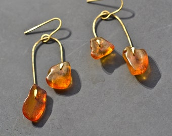 Amber earrings, brass arc earrings with reused beads