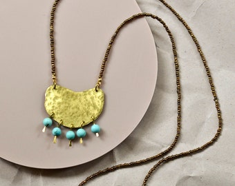 Hammered Brass Pendant with Turquoise Beads and Recycled Seed Beads, Boho Necklace with Bronze Beads